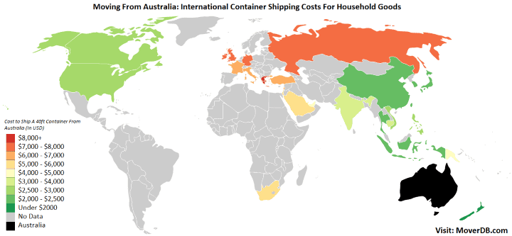 International Container Shipping Costs from Australia