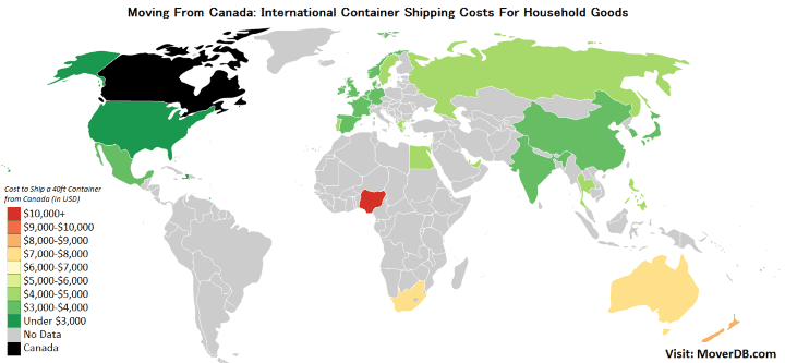 International Container Shipping Rates from Canada (Montreal)