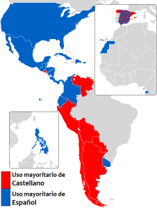 "Map of ""Castellano"" versus ""Español"" to refer to Spanish"