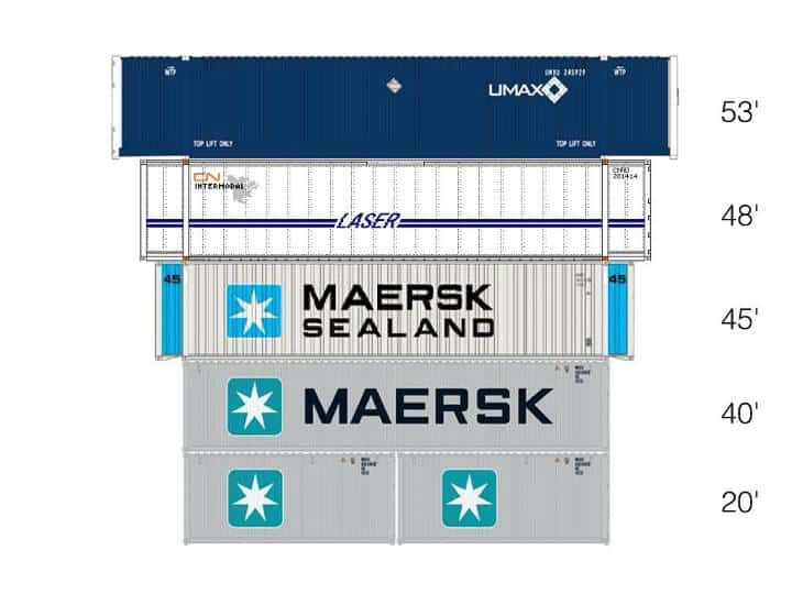 Intermodal Container sizes