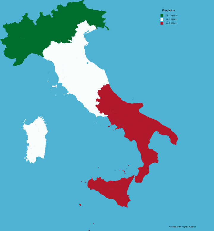 Italy Divided Into 3 Areas of Equal Population