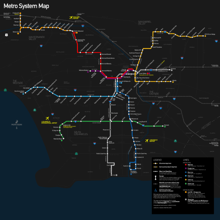 Los Angeles County Metro Rail and Metro Lines Map