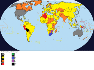 Map Of The Number Of Official Languages Per Country