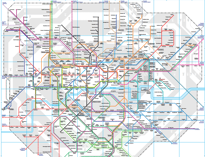 Train and Tube map of London
