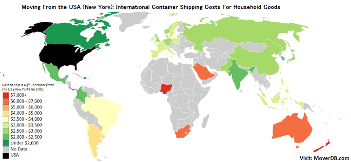 International Container Shipping Rates from the United States (New York)
