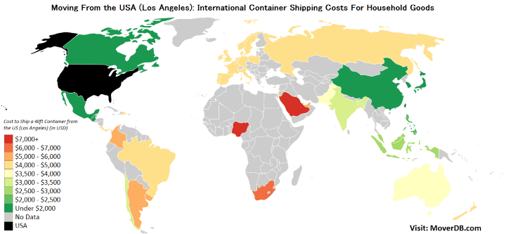 International Freight Shipping Costs from the United States (Los Angeles)