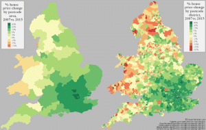 Percentage (%) Change In House Prices In England & Wales (2007 vs 2015)