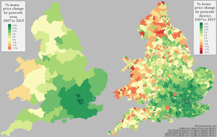 Percentage (%) Change In House Prices In England & Wales 2007 vs 2015