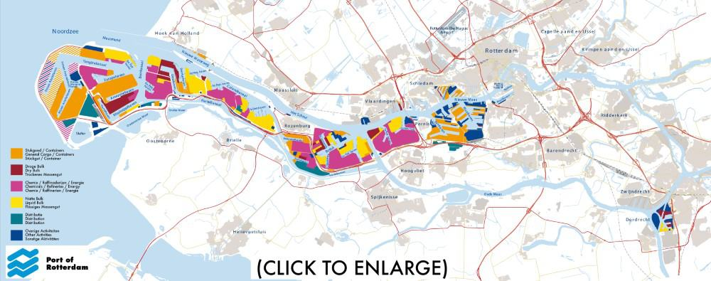 The Largest Seaport In Europe: Port of Rotterdam Map