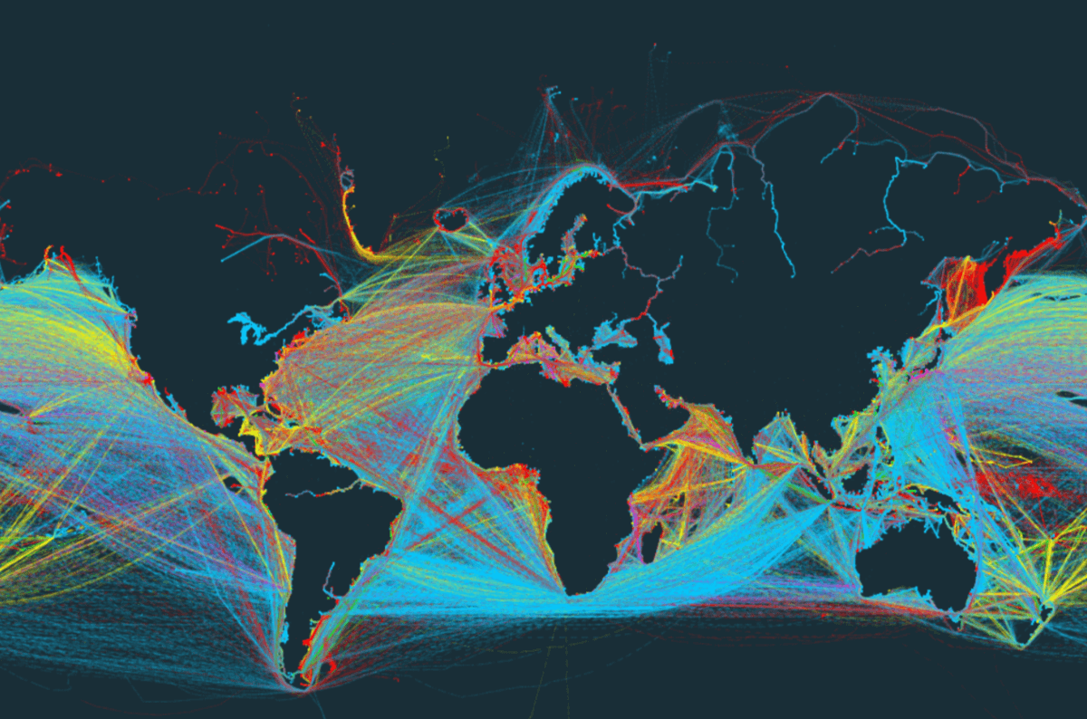 World Map Showing Only Shipping Routes